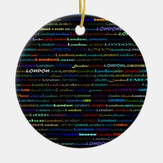London Text Design I Circle Ornament