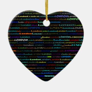 London Text Design I Heart Ornament