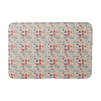 London Themed Seamless Pattern with Phone Booths Bath Mat