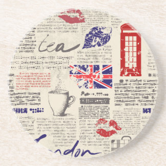 London Themed Seamless Pattern with Phone Booths Coaster