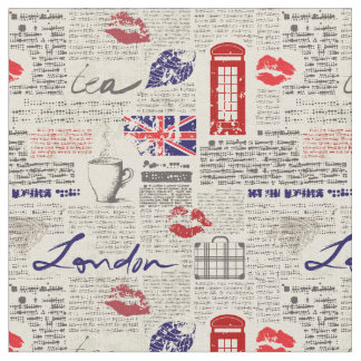 London Themed Seamless Pattern with Phone Booths Fabric