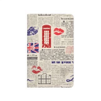 London Themed Seamless Pattern with Phone Booths Journal