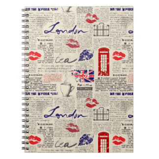 London Themed Seamless Pattern with Phone Booths Notebook