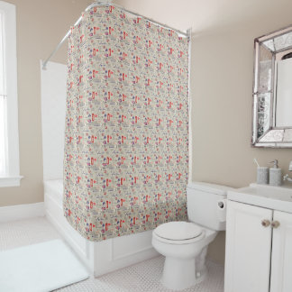 London Themed Seamless Pattern with Phone Booths Shower Curtain