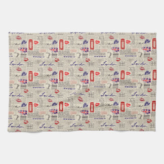 London Themed Seamless Pattern with Phone Booths Tea Towel