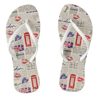 London Themed Seamless Pattern with Phone Booths Thongs