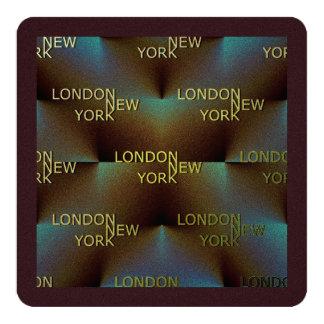 London to New York (add photograph) 13 Cm X 13 Cm Square Invitation Card