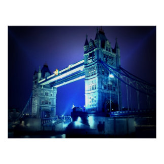 London Tower Bridge at Blue Night Poster