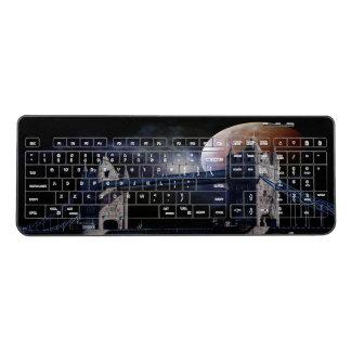 London Tower bridge at night with moon keyboard