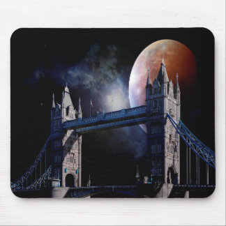 London Tower bridge at night with moon mouse pad