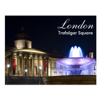 London - Trafalgar Square at night postcard