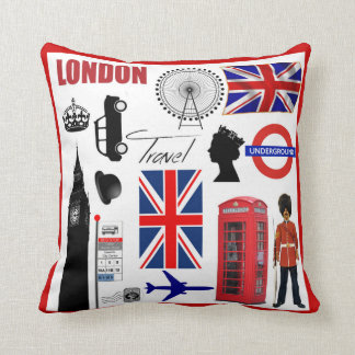London Travel Collage Modern Union Jack Cushion