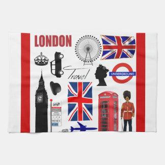 London Travel Collage Tea Towels