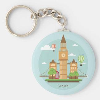 London Uk design unique gift Basic Round Button Key Ring