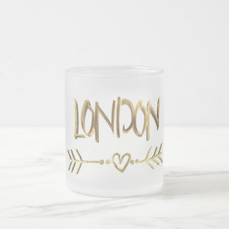 London UK Love Gold Typography Elegant Text Frosted Glass Coffee Mug