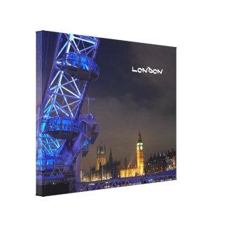London UK  Night Landscape London Eye View Canvas Print
