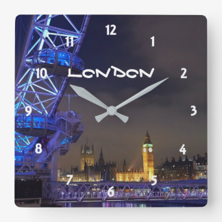 London UK  Night Landscape London Eye View Clocks