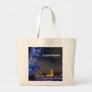 London UK  Night Landscape London Eye View Large Tote Bag