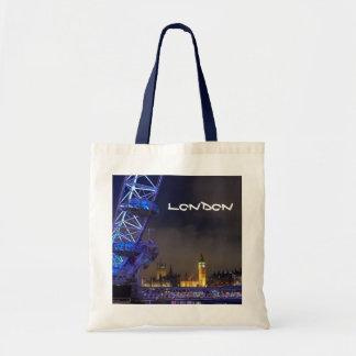London UK  Night Landscape London Eye View Tote Bag