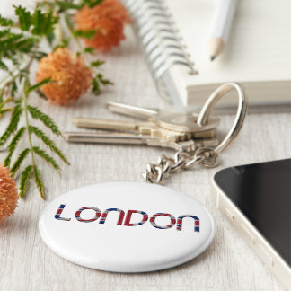 London Union Jack British Flag Typography Elegant Basic Round Button Key Ring