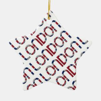London Union Jack British Flag Typography Elegant Ceramic Ornament