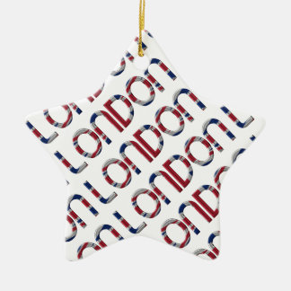London Union Jack British Flag Typography Elegant Ceramic Star Decoration