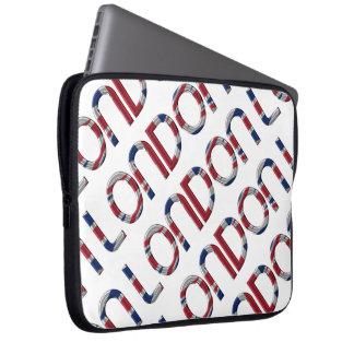London Union Jack British Flag Typography Elegant Laptop Computer Sleeve