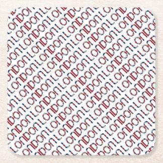 London Union Jack British Flag Typography Elegant Square Paper Coaster