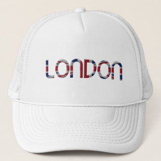 London Union Jack British Flag Typography Elegant Trucker Hat