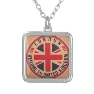 London - Union Jack - Welcome to United Kingdom Silver Plated Necklace