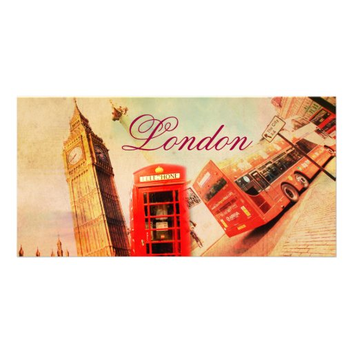 London vintage personalised photo card