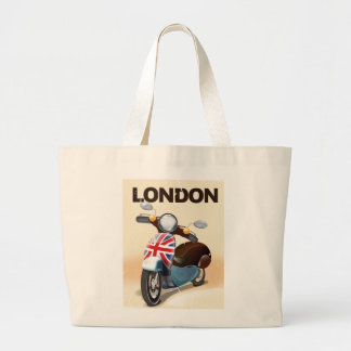 London vintage scooter union jack travel poster. large tote bag