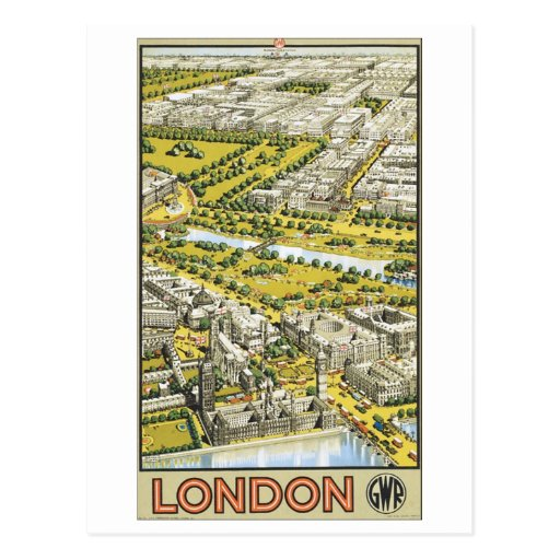 London Vintage Travel Poster Post Card