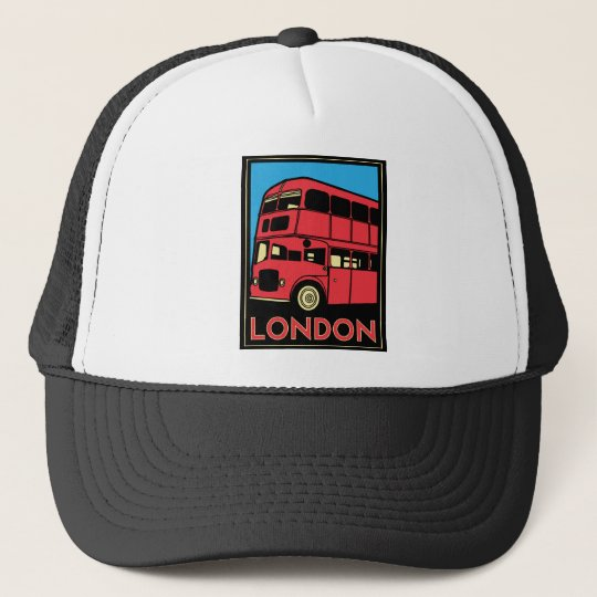 london westminster england art deco retro poster trucker hat