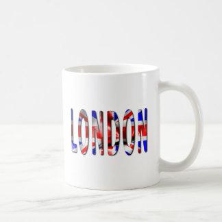 London Word With Flag Texture Coffee Mug
