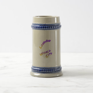 London world city, colorful text art beer stein