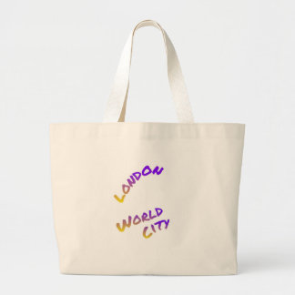 London world city, colorful text art large tote bag