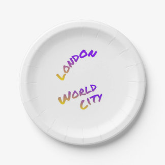 London world city, colorful text art paper plate