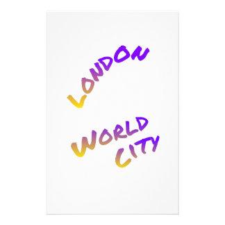 London world city, colorful text art stationery