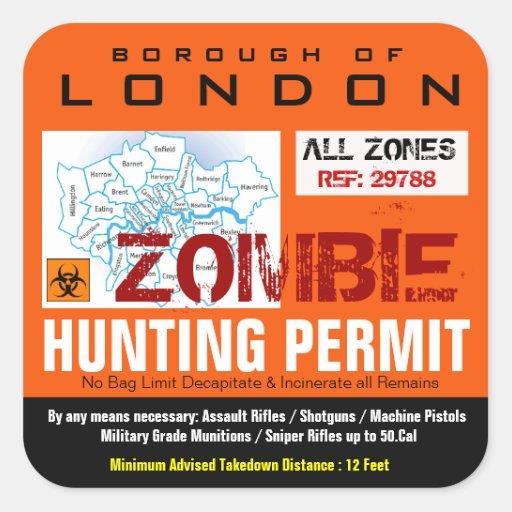 London Zombie Hunting permit Sticker