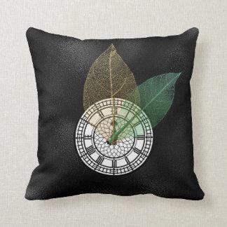 Londoner Big Ban Clock Black White Leaf Cushion