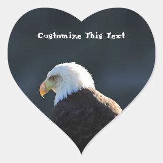 Lone Bald Eagle; Customizable Heart Sticker