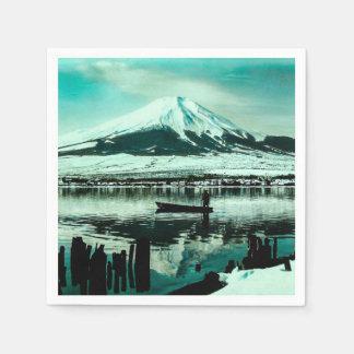 Lone Boatman Beneath the Winter Shadow of Mt. Fuji Paper Serviettes