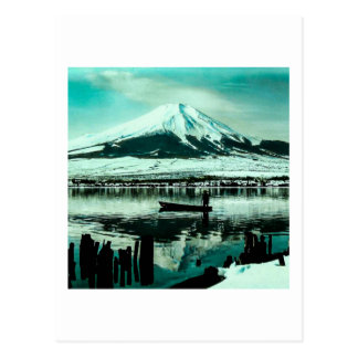 Lone Boatman Beneath the Winter Shadow of Mt. Fuji Postcard