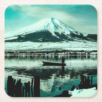 Lone Boatman Beneath the Winter Shadow of Mt. Fuji Square Paper Coaster
