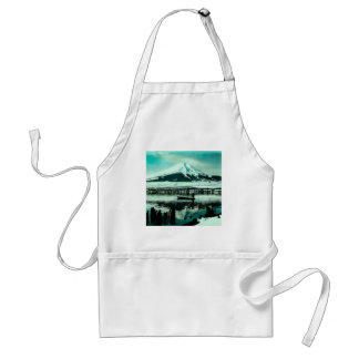 Lone Boatman Beneath the Winter Shadow of Mt. Fuji Standard Apron