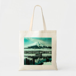 Lone Boatman Beneath the Winter Shadow of Mt. Fuji Tote Bag