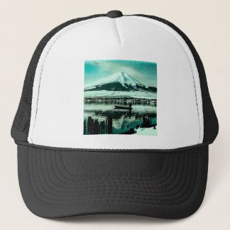 Lone Boatman Beneath the Winter Shadow of Mt. Fuji Trucker Hat