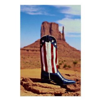 Lone cowboy boot, Monument Valley, Arizona, U.S.A. Poster