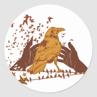 Lone Crow Illustration Round Sticker